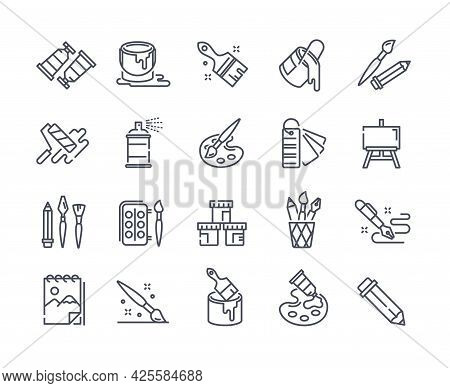 Large Set Of Creativity, Art And Drawing Icons Depicting Paints, Swatches, Spray, Paint Bucket, Pain