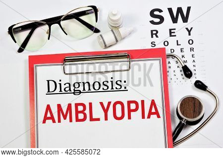 Amblyopia. The Text Of The Diagnosis In Ophthalmology. Treatment With Procedures And Medications.