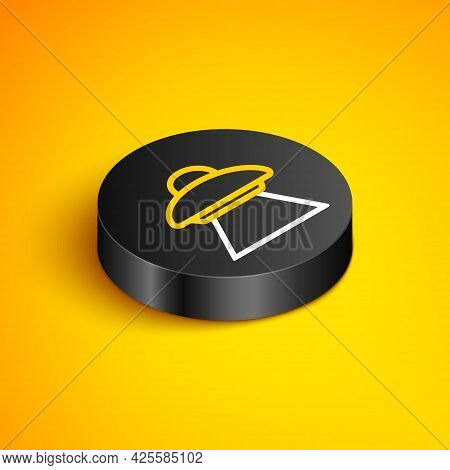 Isometric Line Ufo Flying Spaceship Icon Isolated On Yellow Background. Flying Saucer. Alien Space S