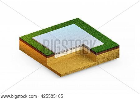 Poured Reinforced Concrete Slab Foundation - Isolated Industrial 3d Illustration