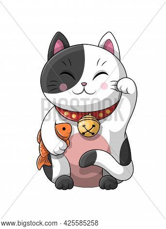 Cute Adorable Little Cartoon Japanese Lucky Cat Wearing A Collar And Bell Holding Fish Under Its Arm