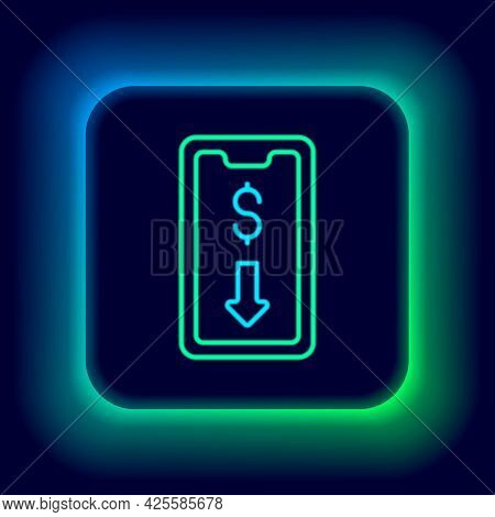 Glowing Neon Line Mobile Stock Trading Concept Icon Isolated On Black Background. Online Trading, St