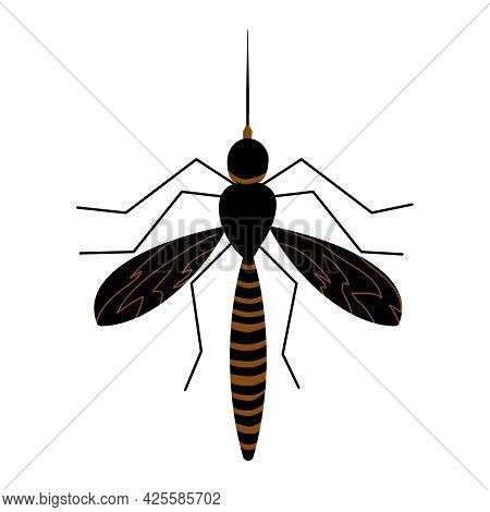 Mosquito Isolated On White Background. Gnat Simple Flat Icon, Symbol Or Sign. Mosquito Silhouette De