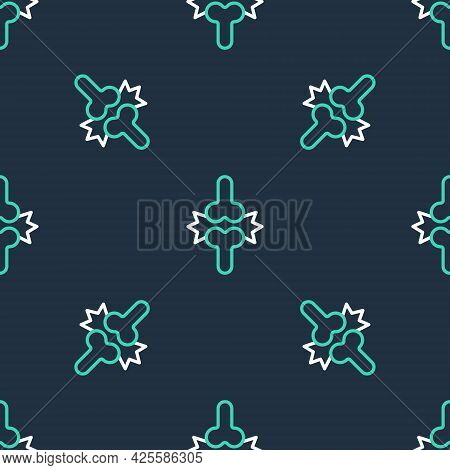 Line Joint Pain, Knee Pain Icon Isolated Seamless Pattern On Black Background. Orthopedic Medical. D