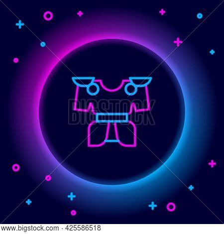 Glowing Neon Line Body Armor Icon Isolated On Black Background. Colorful Outline Concept. Vector