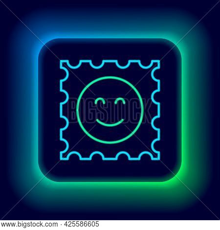 Glowing Neon Line Lsd Acid Mark Icon Isolated On Black Background. Acid Narcotic. Postmark. Postage