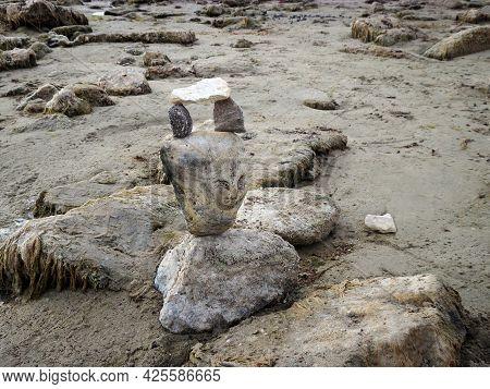Composition Of Stones On The Sandy Shore Of The Caspian Sea. Kazakhstan Mangistau Region. 27 October