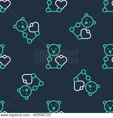 Line Donate Child Toys Icon Isolated Seamless Pattern On Black Background. Charity Kindness, Volunte