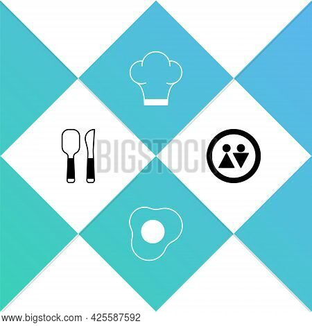 Set Knife And Spoon, Scrambled Eggs, Chef Hat And Toilet Icon. Vector