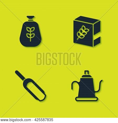 Set Bag Of Flour, Watering Can, Scoop And Flour Pack Icon. Vector