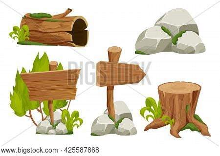 Forest Nature Elements Landscape Set With Signboard, Tree Stump, Old Trunk, Stone Pile And Moss In C