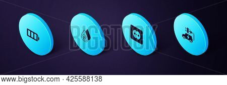 Set Isometric Electric Car, Electrical Outlet, Water Energy And Battery Icon. Vector