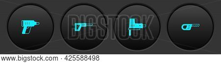 Set Electric Cordless Screwdriver, Reciprocating Saw, Jigsaw And Icon. Vector