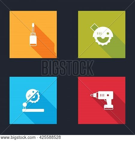 Set Screwdriver, Electric Circular Saw, Table For Woodwork And Cordless Screwdriver Icon. Vector