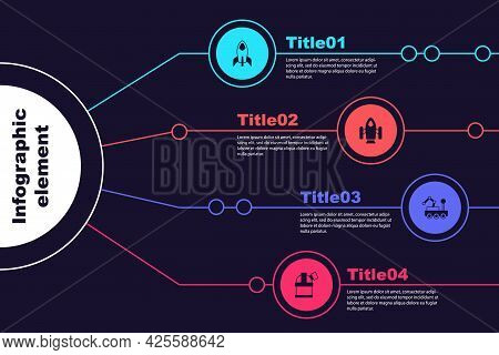 Set Rocket Ship, , Mars Rover And Astronomical Observatory. Business Infographic Template. Vector