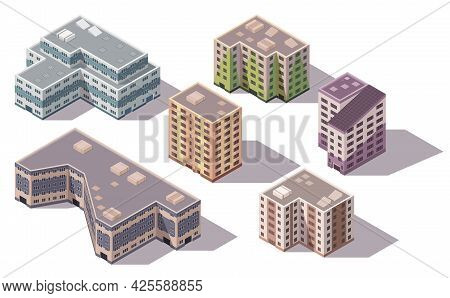 Collection Of Vector Isometric High Rise Buildings And Street Elements With Place For Parking. City