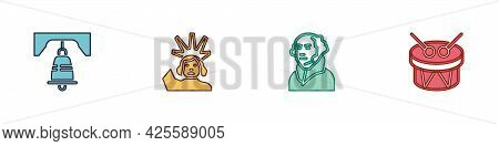 Set Liberty Bell In Philadelphia, Statue Of, George Washington And Drum And Drum Sticks Icon. Vector
