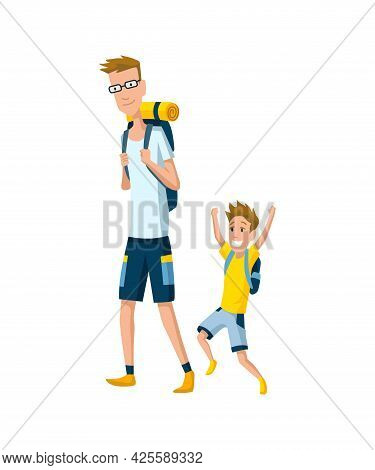 Father Spend Time With Son. Dad And Son Go Hiking With Backpacks, Happy Family Concept. Fatherhood F