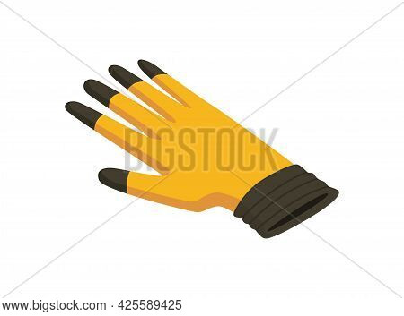 Gloves Isometric Hand Tool. Protective Gloves Isolated On White. Detailed Icon Of Tool For Handyman