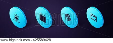 Set Isometric Keyboard, Processor, Browser Window And Hacker Coder Icon. Vector