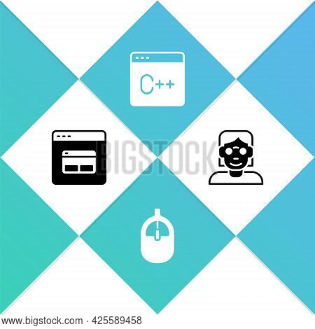 Set Search Engine, Computer Mouse, Software And Hacker Or Coder Icon. Vector