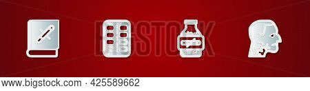 Set Book With Stop Cigarette, Nicotine Gum In Blister Pack, And Throat Cancer Icon. Vector