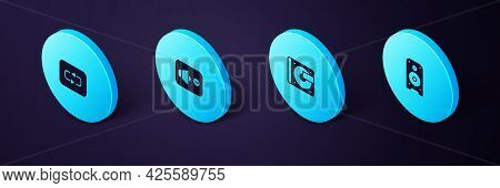Set Isometric Stereo Speaker, Vinyl Player With Vinyl Disk, Speaker Mute And Repeat Button Icon. Vec