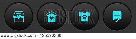 Set Donation And Charity, Shelter For Homeless, Animal Volunteer And Envelope With Heart Icon. Vecto