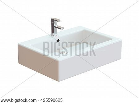 Ceramic Sink Bathroom Isolated On White Background. 3d Rendering