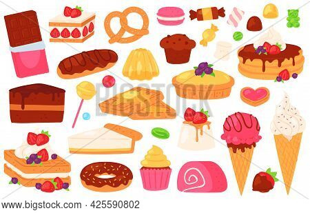 Cartoon Confectionery Sweets. Chocolate Cake, Cupcake, Sweet Baked Pastry And Pancakes, Ice Cream, J