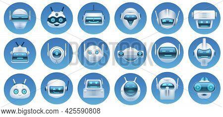 Robot Head Avatars. Cartoon Virtual Assistant, Chat Bot Faces, Robots Logo, Emoji And Mascots. Futur