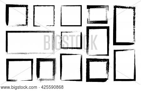 Grunge Frames. Dirty Borders With Black Paint Brush Strokes. Ink Rectangle Edges With Distress Textu