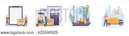 Global Logistic Chain. International Supply, Distribution, Warehouse, Transportation And Delivery Ne