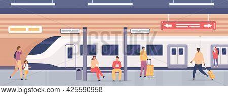 Subway Platform With People. Passengers On Metro Station Waiting For Train. City Underground Public