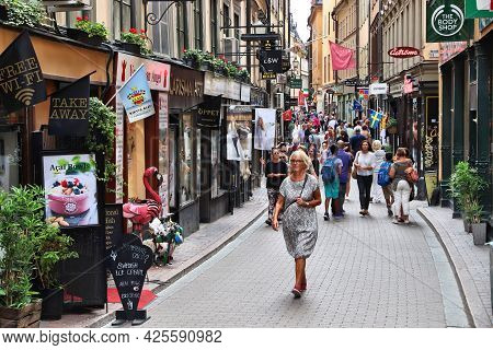 Stockholm, Sweden - August 23, 2018: People Visit Narrow Streets Of Gamla Stan (old Town) In Stockho