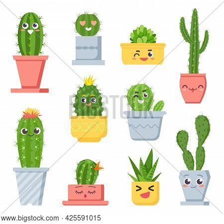 Cute Cactus With Faces. Cartoon Succulent Pot Plants Characters With Emoji. Smiling Tropical Cacti W