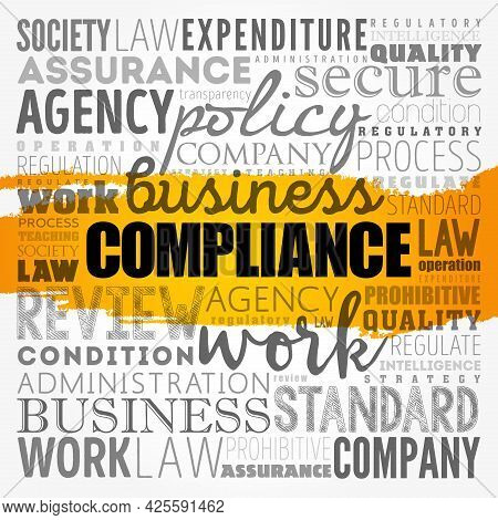 Compliance Word Cloud Collage, Business Concept Background