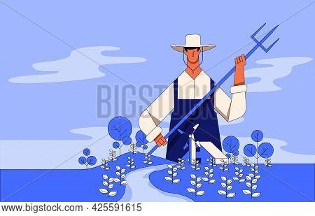 Farmer Illustration Concept Vector, Farmer Working On Field
