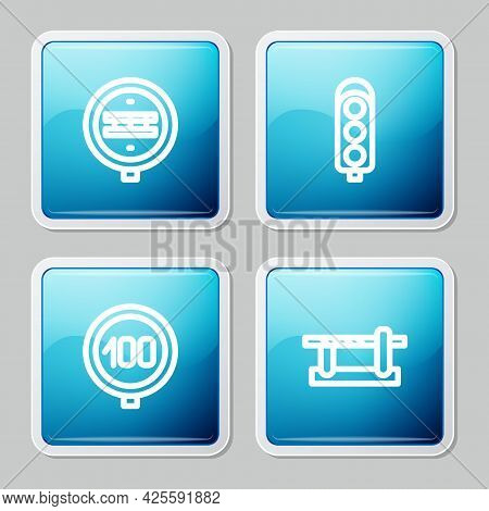 Set Line Railroad Crossing, Traffic Light, Speed Limit Traffic And Parking Car Barrier Icon. Vector