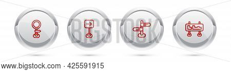Set Line Road Traffic Sign, Traffic Turn Right, And . Silver Circle Button. Vector