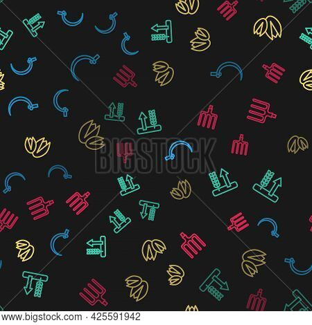 Set Line Sickle, Wheat, Pistachio Nuts And Garden Pitchfork On Seamless Pattern. Vector