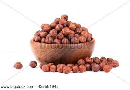 Pile Of Brown Chickpeas In Wooden Bowl, Isolated On White Background. Brown Chickpea. Garbanzo, Beng