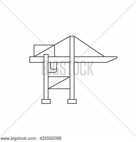 Harbor Crane Line Outline Icon Isolated On White