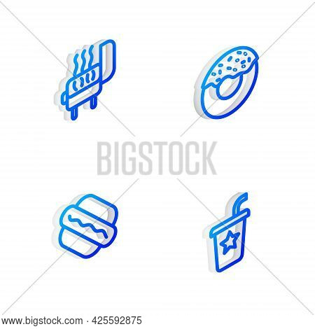 Set Isometric Line Donut, Barbecue Grill, Hotdog Sandwich And Paper Glass With Straw Icon. Vector