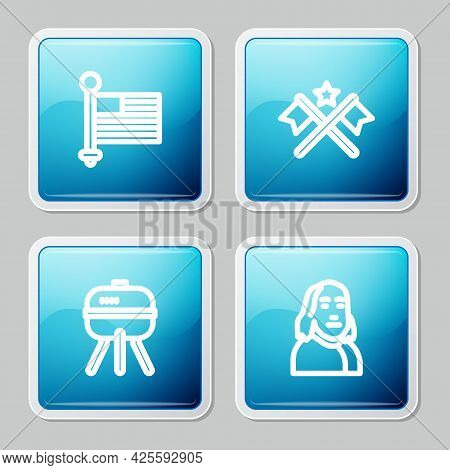 Set Line American Flag, , Barbecue Grill And Benjamin Franklin Icon. Vector