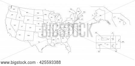 Map Of America. United States Political Map. Us Blueprint With The Titles Of States And Regions. All