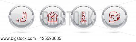 Set Line Inhaler, No Smoking At Home, Cigarette Butt And Man Cigarette. Silver Circle Button. Vector