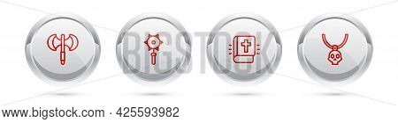 Set Line Medieval Poleaxe, Chained Mace Ball, Holy Bible Book And Necklace Amulet. Silver Circle But