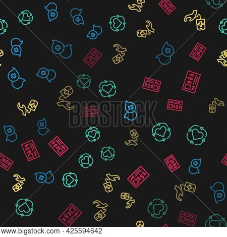 Set Line Dialogue With Doctor, Volunteer, Blood Donation And Bank Check On Seamless Pattern. Vector