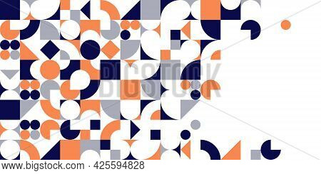 Geometric Design Vector, Colorful Modular Constructor Design Background With Copy Space, Ad Template